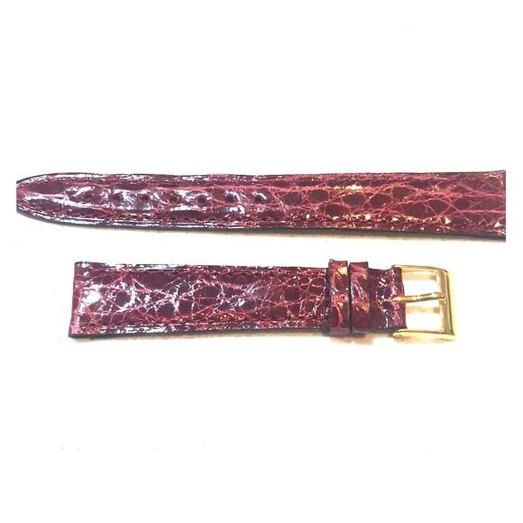 Tourneau burgundy 17mm crocodile watch strap